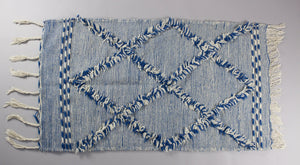 Adilah - Small Blue Hand-knotted Double Sided Wool Berber Carpet