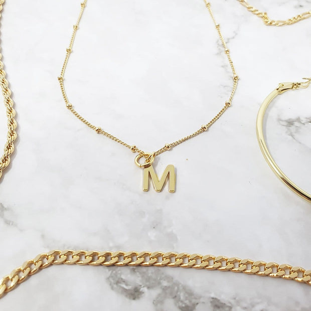 18k Gold Alpha Initial Pendant Charms - m