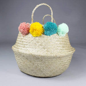 Mai - Folding Natural Toy Organiser Basket With Colourful Pompoms