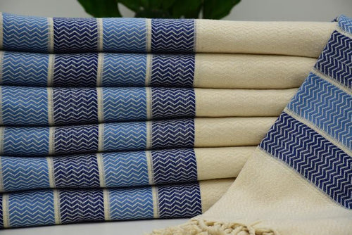 Maral Blue - Turkish Hammam Bath Beach Towel Peshmetal Fouta
