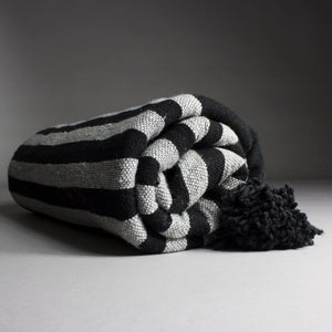 Mehdi - Large Black And Grey Striped Heavy Cotton Moroccan Pompom Throw