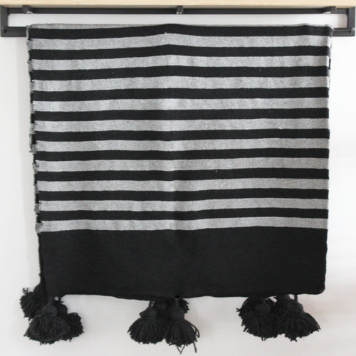 Mehdi Moroccan Throw, Black and Grey
