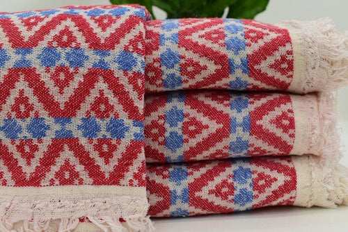Hammam Turkish Beach Towel, Fouta, Peshmetal in Red and Blue