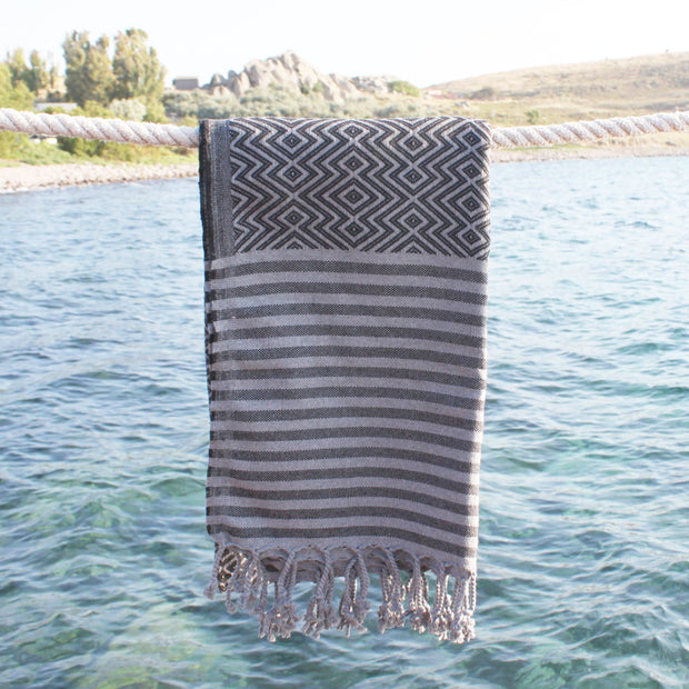 Nisa Hammam Towel, Black And Grey