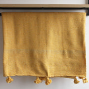 Nahla - Large Mustard Heavy Cotton Moroccan Pompom Throw