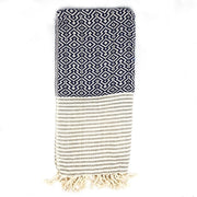 Nisa Hammam towel Navy Blue and White
