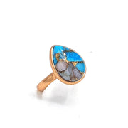 Pear Opal & Copper Turquoise Ring - October and December Birthstone Ring