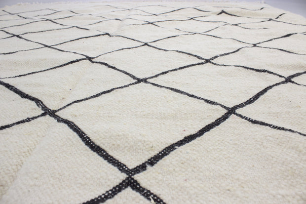 Rabia - Large Thin White And Black Hand-knotted Wool Berber Rug