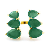 Raksha - Adjustable Pear Shaped Gemstone Ring In Green