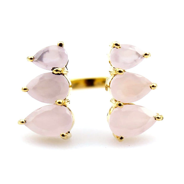Raksha - Adjustable Pear Shaped Gemstone Ring In Pink