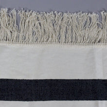 Load image into Gallery viewer, Rania - Large Cream And Black Striped Cotton Moroccan Throw With Luxury Tassels