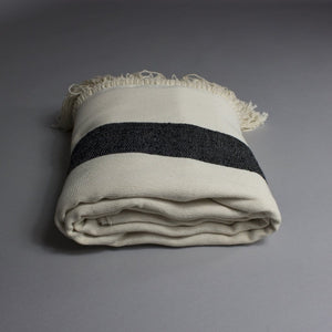 Rania - Large Cream And Black Striped Cotton Moroccan Throw With Luxury Tassels
