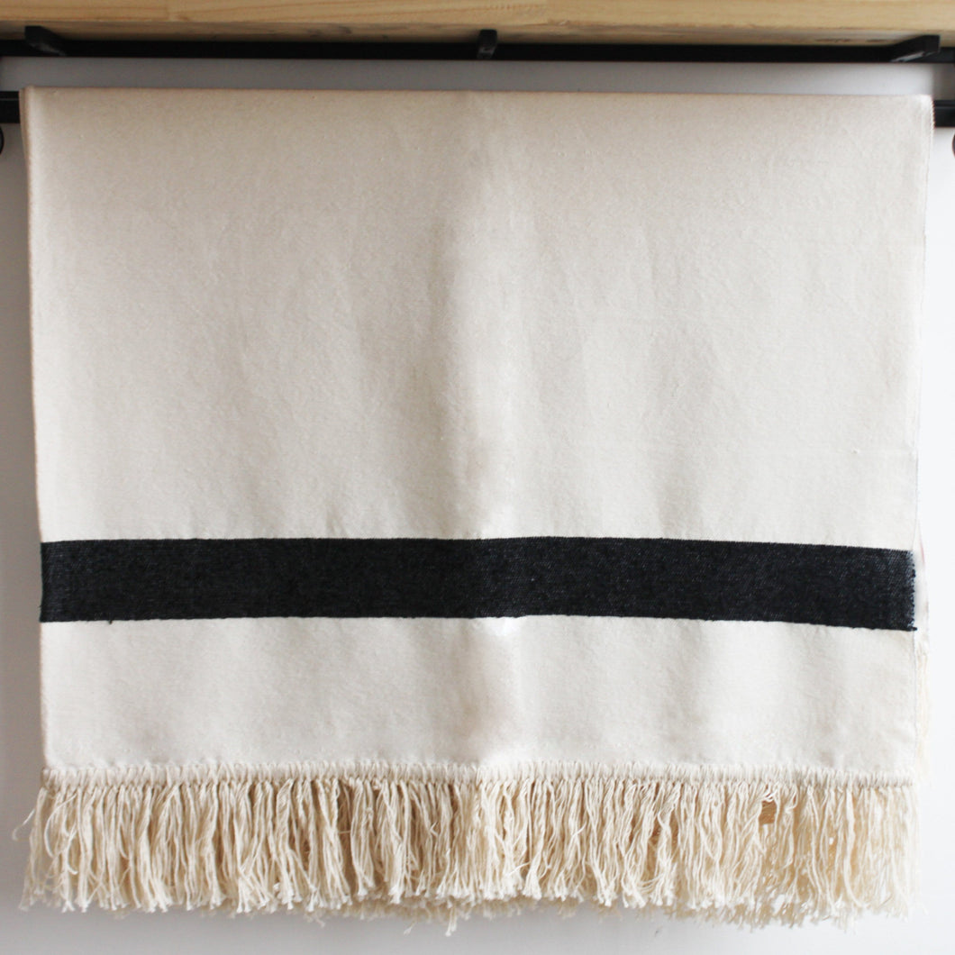 Rania Moroccan Throw, Cream and Black