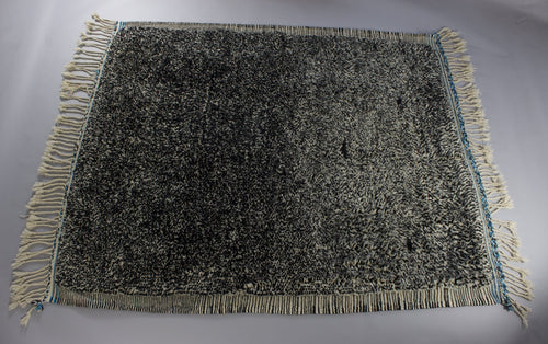 Rayan - Large Blue and Black Hand-Knotted Vintage Wool Berber Rug