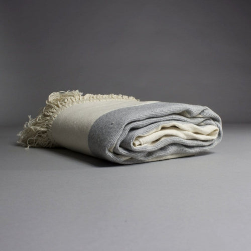 Rehana - Large Cream And Grey Striped Cotton Moroccan Throw With Luxury Tassels