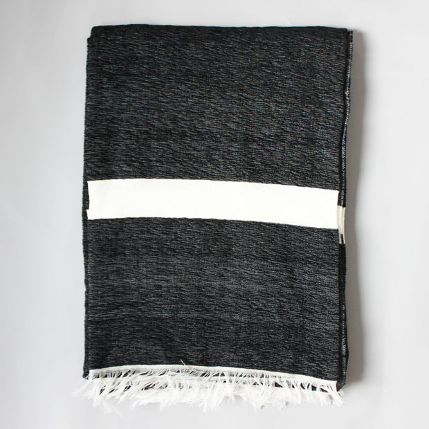 Riad - Large Black And White Striped Luxury Cashmere Moroccan Throw
