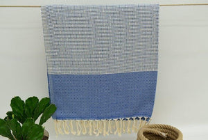 Hammam Turkish Beach Towel, Fouta, Peshmetal in Blue