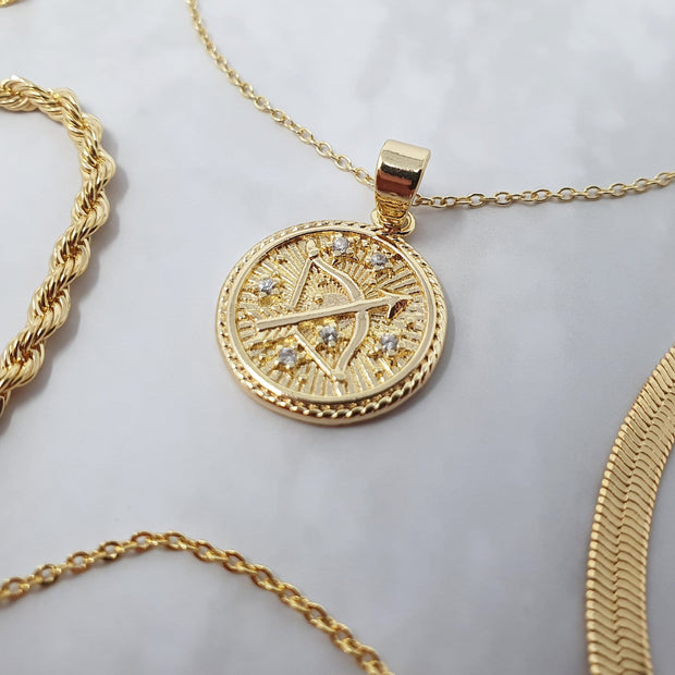 18k Gold Astra Zodiac Necklace Set
