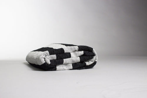 Salim - Large Black And Grey Luxury Cashmere Moroccan Throw