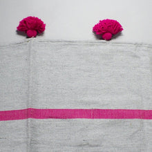 Load image into Gallery viewer, Salma - Large Grey And Pink Heavy Cotton Moroccan Pompom Throw
