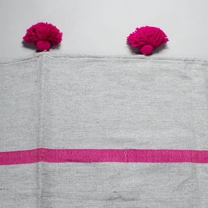 Salma - Large Grey And Pink Heavy Cotton Moroccan Pompom Throw