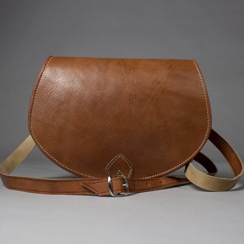 Sofia Small Brown Leather Saddlebag Crossbody Handbag