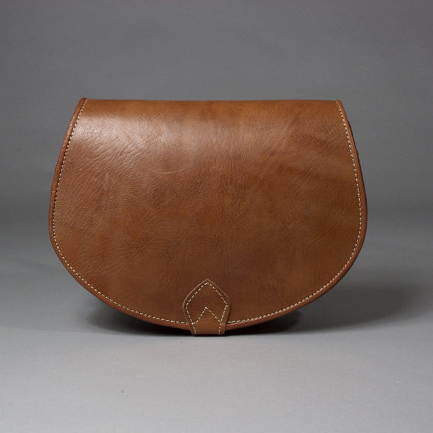 Sofia - Brown Leather Saddlebag Crossbody Handbag