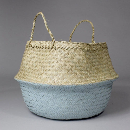 Thien - Folding Natural and Blue  Seagrass Storage Basket