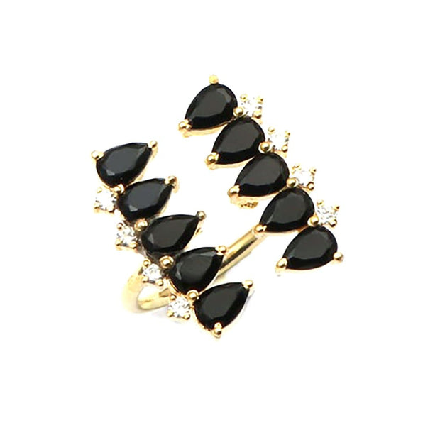 Vinaya - Pear Shape Handmade Ring In Black Onyx
