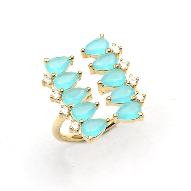 Vinaya - Pear Shape Handmade Ring In Chalcedony
