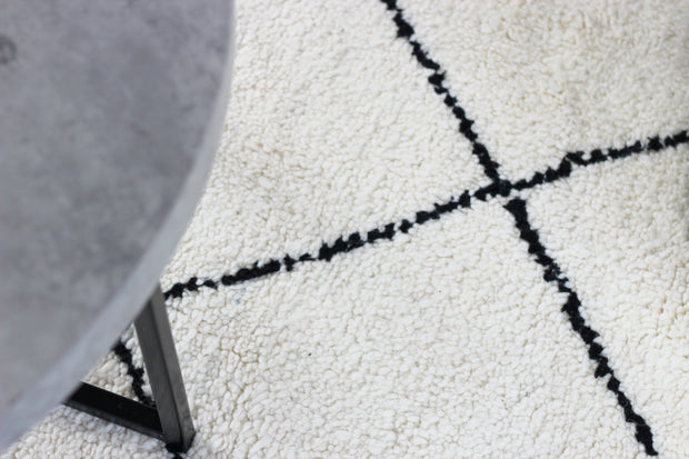 Youness - Large Cream And Black Hand Woven Moroccan Wool Berber Rug