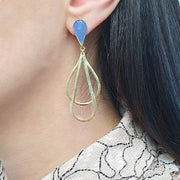 Anika Earrings, Gold Plated, Baby Blue