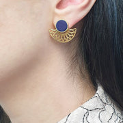Half Moon Ultra Marine Blue Earrings