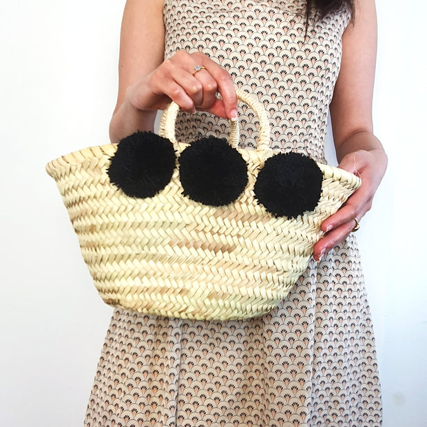 Fatima - Straw Pompom Summer Beach Bag