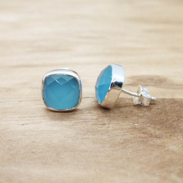 Blue Chalcedony Gemstone Fatima earrings