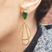 Tear drop boho earrings, Emerald Green
