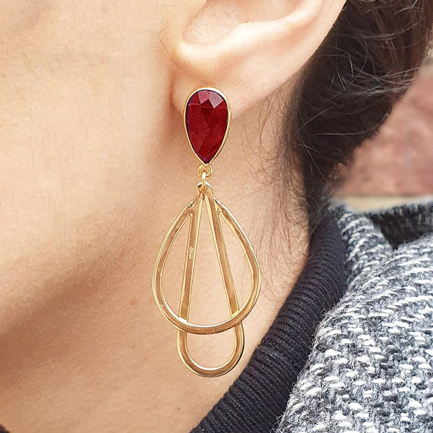 Tear drop boho earrings, Garnet Red