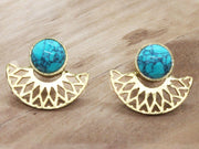 Half Moon Turquoise Earrings