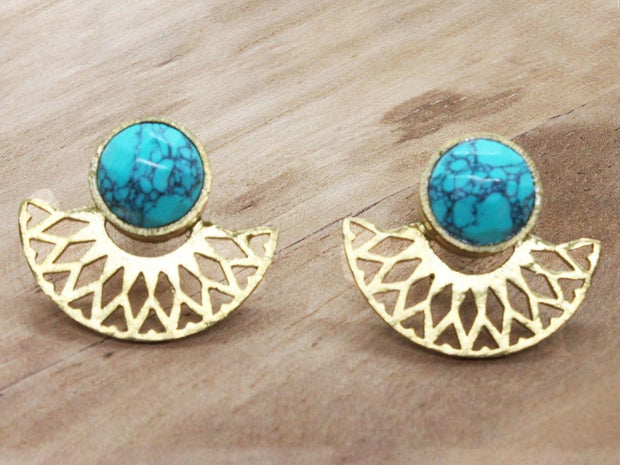 Turquoise, gold plated earrings. December birthstone earrings.