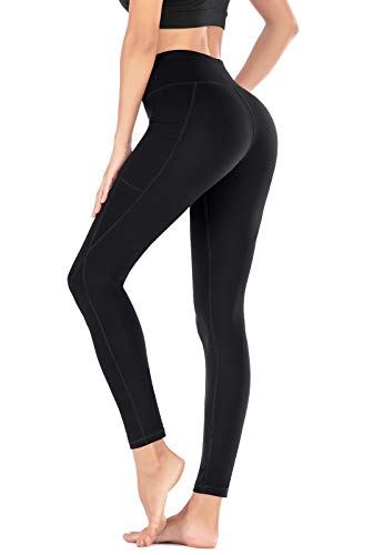 Heathyoga Yoga Pants with Pockets for Women Leggings with Pockets for Women No See-Through High Waisted Workout Leggings Black