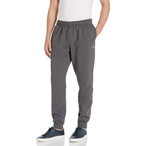Champion Men's Powerblend Retro Fleece Jogger Pant, Granite Heather, Large