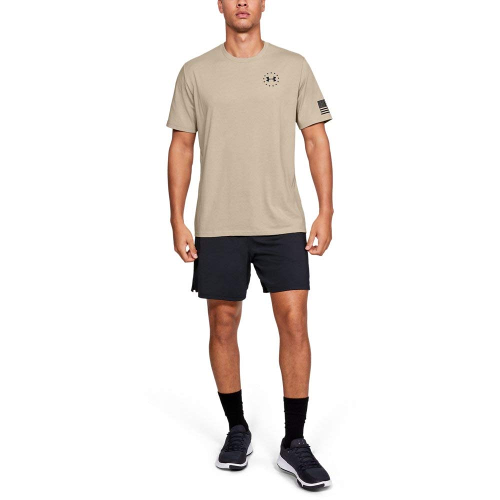 Under Armour Freedom Flag T-Shirt, Desert Sand//Black