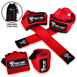 Premium Wrist Wraps + Lifting Straps Bundle w/Carry Bag | Professional Grade Heavy Duty Hand and Wrist Support Weightlifting w/ 2 Year No Questions Asked Warranty (RED)
