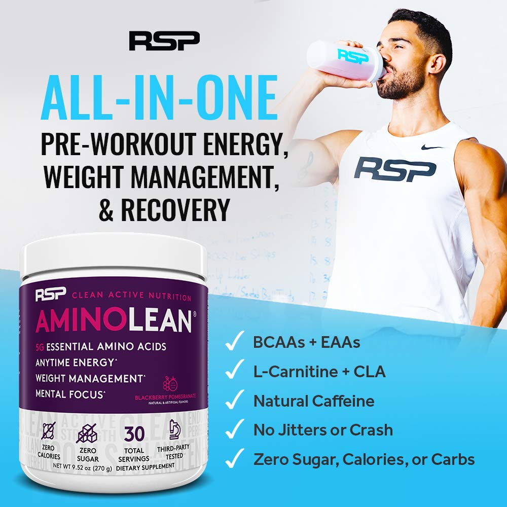 RSP AminoLean - All-in-One Pre Workout, Amino Energy, Weight Management Supplement with Amino Acids, Complete Preworkout Energy for Men & Women, Blackberry Pom, 30 (Packaging May Vary)