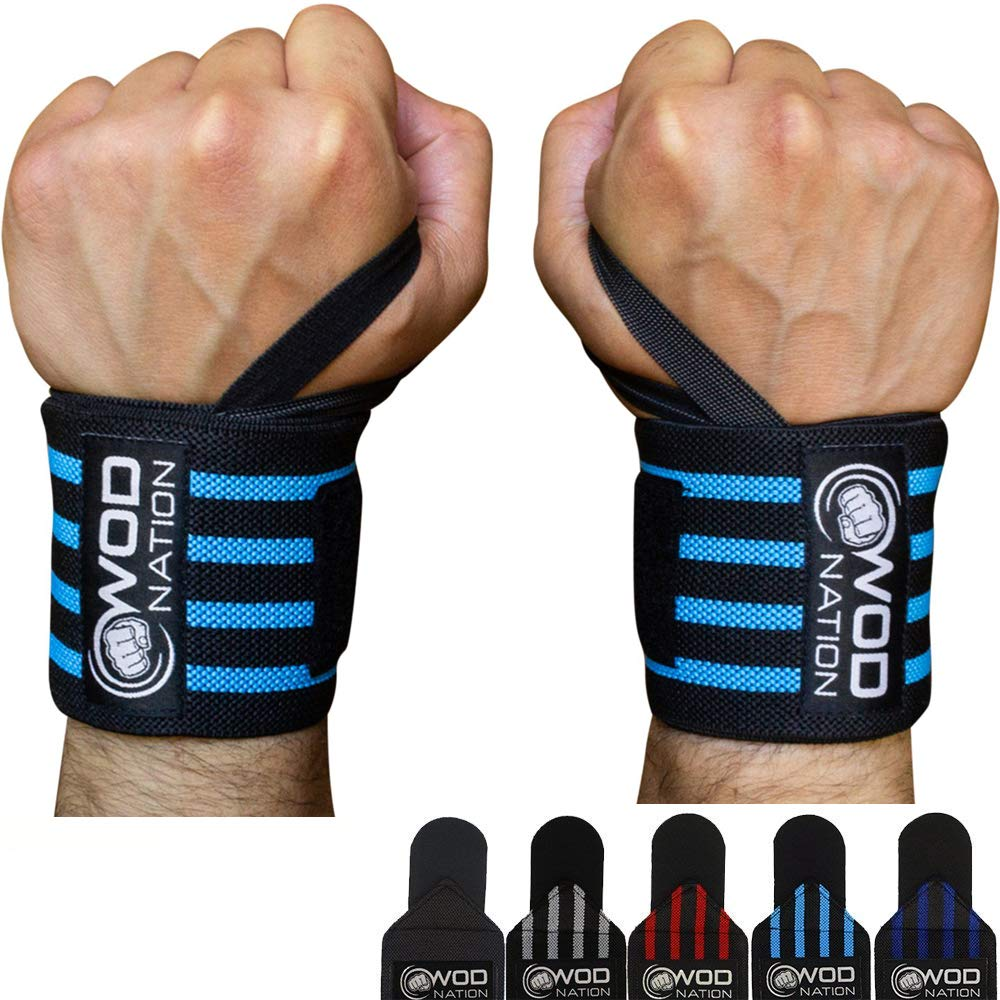 "WOD Nation Wrist Wraps Weightlifting - Weight Lifting Wrist Wraps for Men & Women (12"" or 18"") (12 Inch - Black/Lt Blue)"