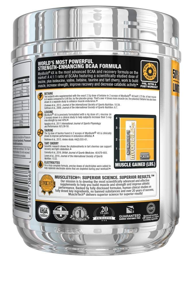MuscleTech Myobuild BCAA Amino Acids Supplement, Muscle Building and Recovery Formula with Betaine & Electrolytes, Fruit Punch Blast, 45 Servings (416g)
