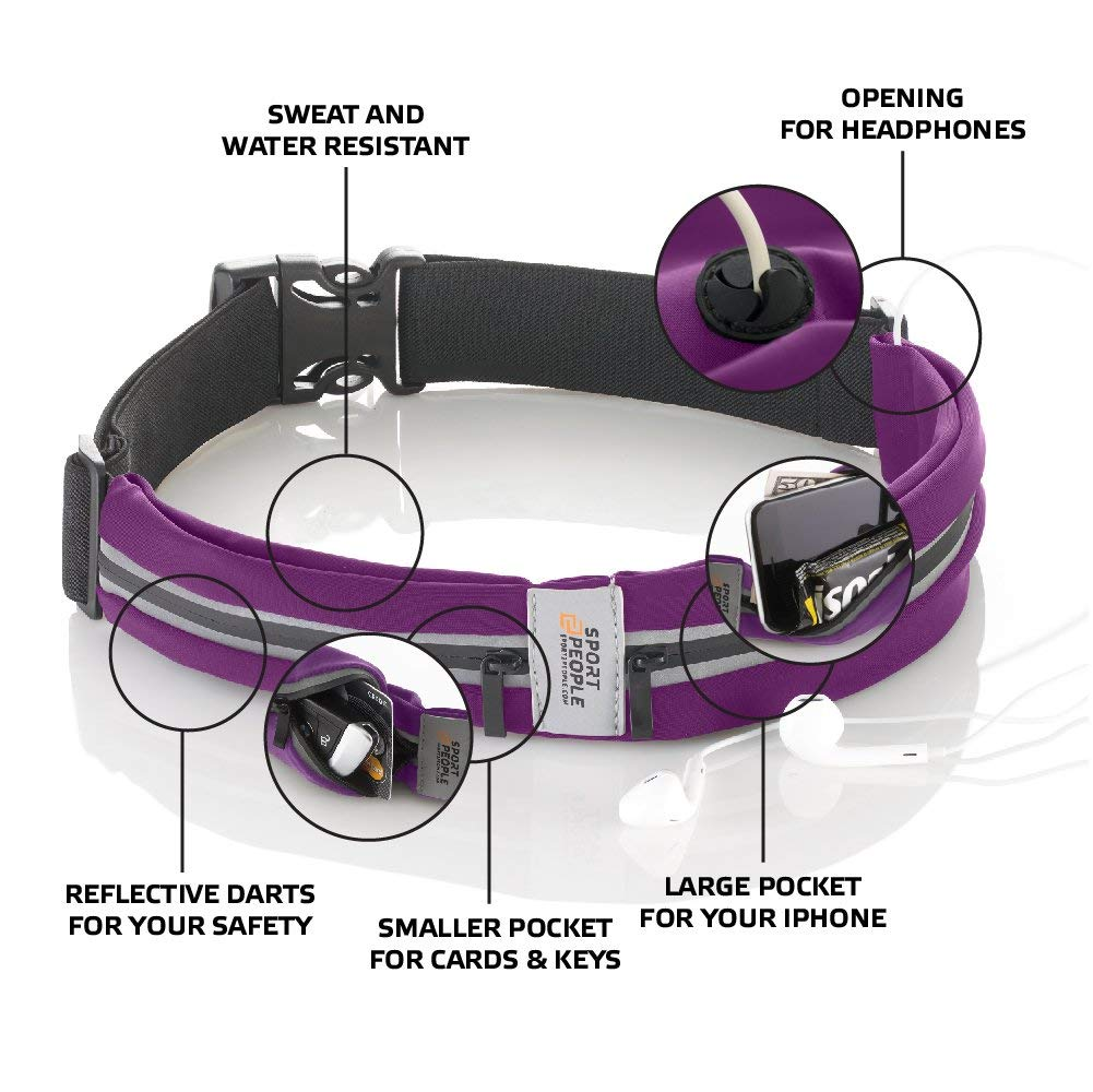 Running Belt USA Patented. Fanny Pack for Hands-Free Workout. iPhone X 6 7 8 Plus Buddy Pouch for Runners. Freerunning Reflective Waist Pack Phone Holder. Men Women Kids Gear Accessories (Purple)
