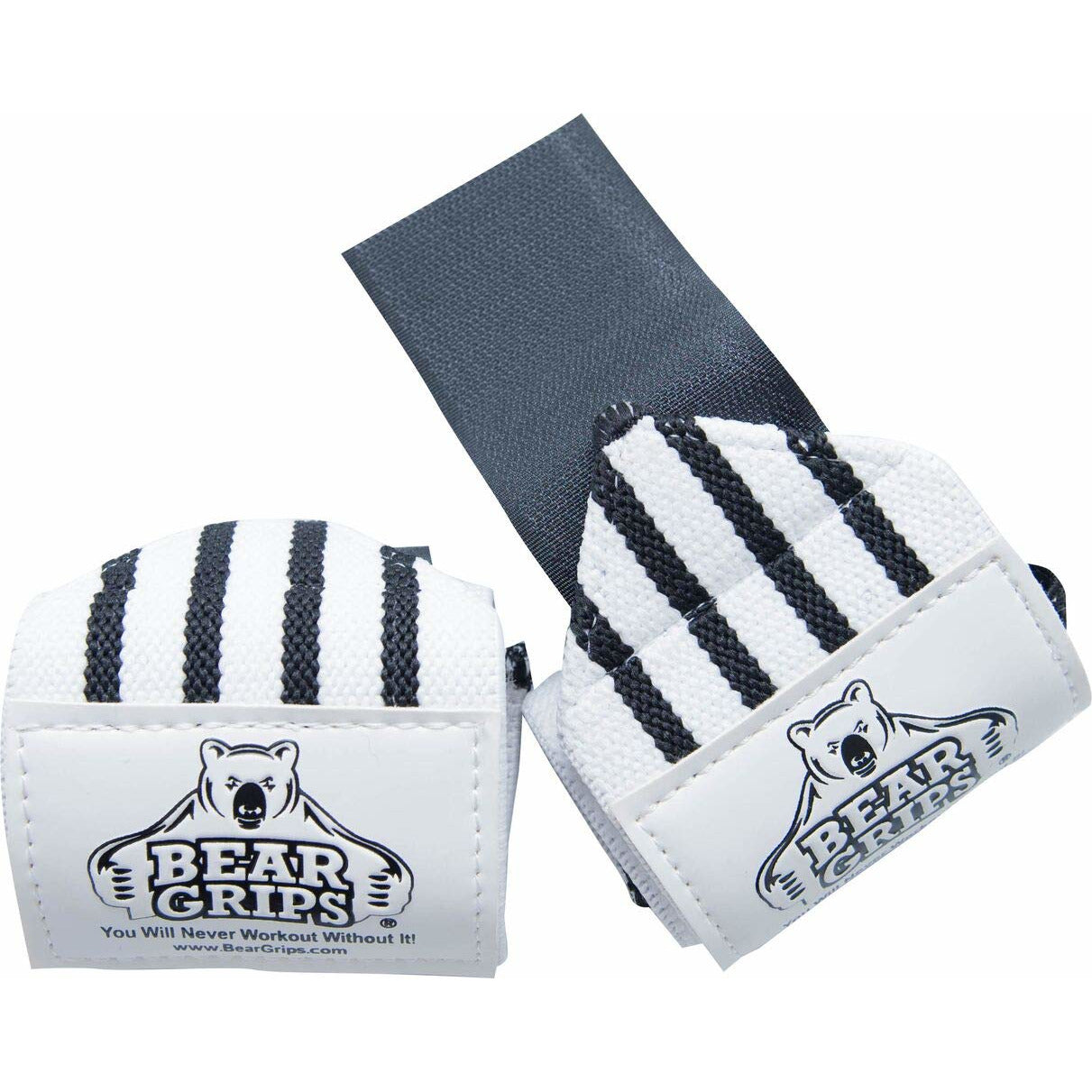 "Bear Grips: Gray Series, White Series Wrist-Wraps, Extra-Strength Wrist Support, Wrist Brace for Workouts, wods (White with Black Stripes, 18"", Sold in Pairs, Two Wrist Straps per Pack)"