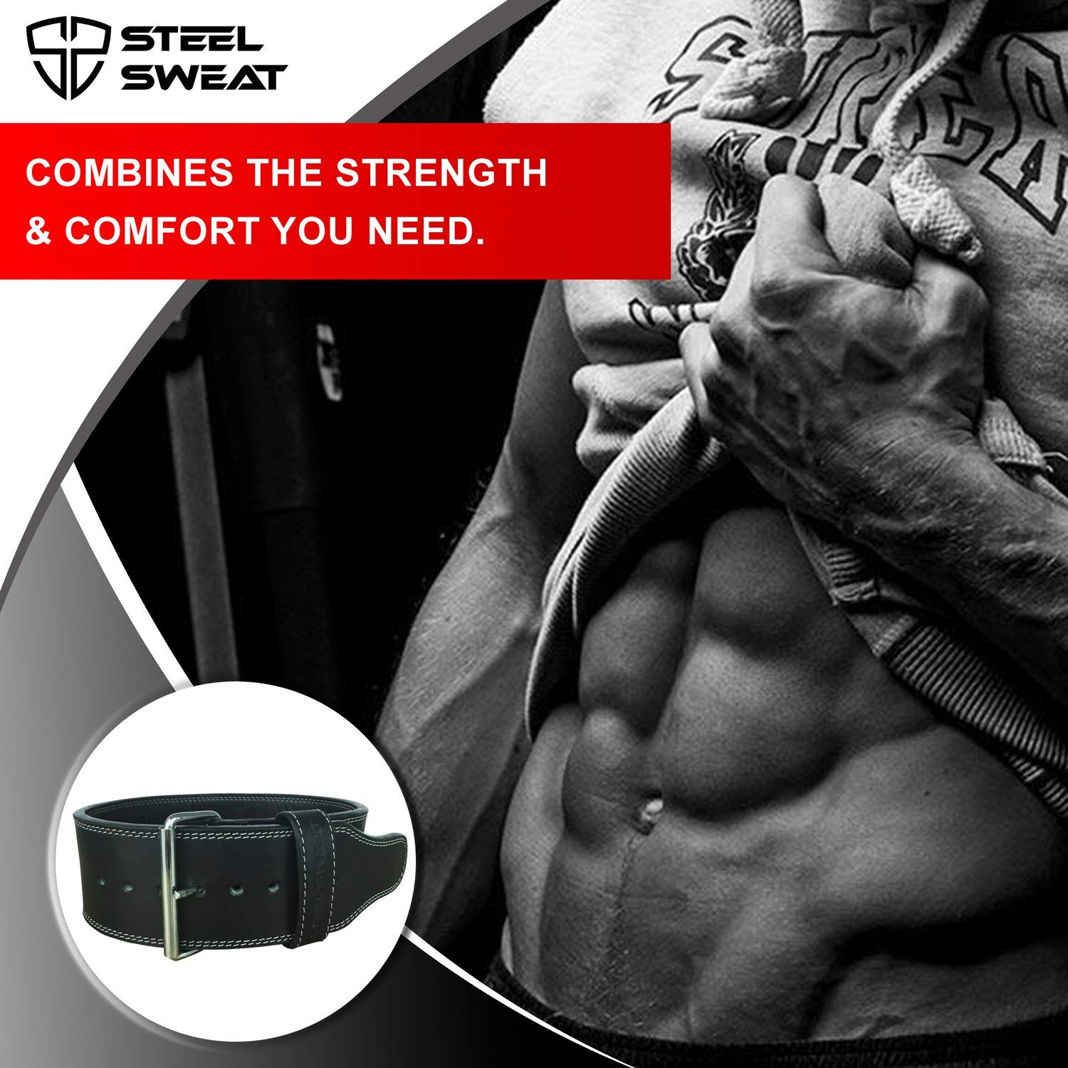 "Steel Sweat Powerlifting Belt for Weight Lifting - 4"" Wide by 10mm Thick - Single Prong Heavy Duty Adjustable Weightlifting Belt, High Grade Leather - Bolt Black XXL"