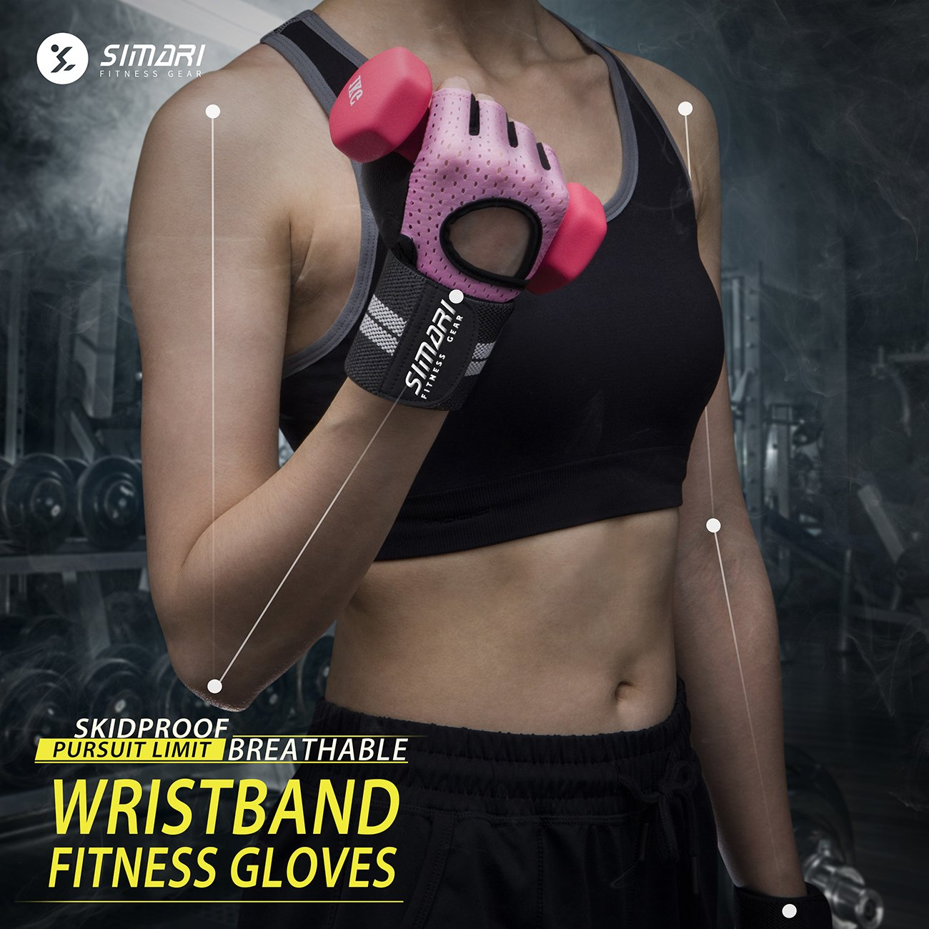 SIMARI Workout Gloves for Women Men,Training Gloves with Wrist Support for Fitness Exercise Weight Lifting Gym Crossfit,Made of Microfiber and Lycra